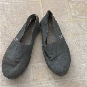 Toms size 6.5 gray flats slip on shoes